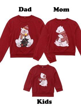 Christmas Family Matching Xmas Women Men Kid Bear Sweatshirt Jumper Tops Sweater