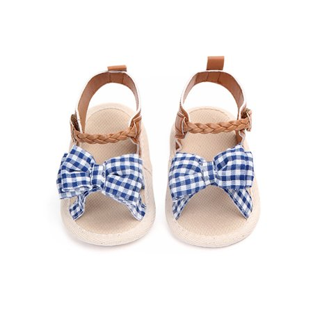 Funcee Fashion Baby Girl Anti-slip Canvas Dotted Bow Soft Bottom Princess Shoes First Walkers