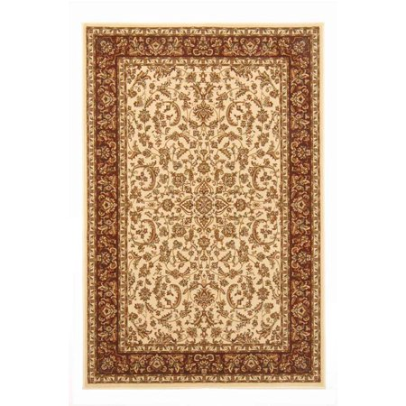 Vitaly Wharton Area Rugs - 1318 Traditional Oriental Ivory Bordered Medallion Persian Floral Rug