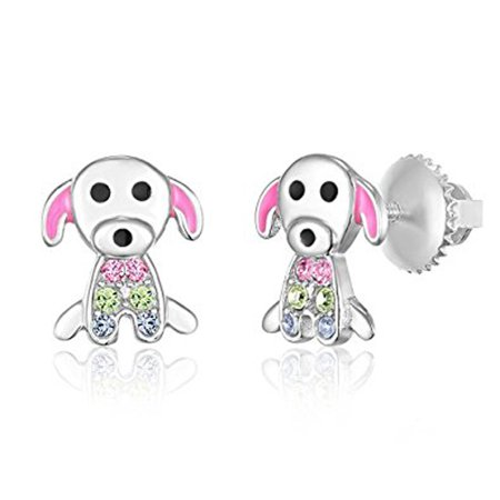 Childrens Sterling Silver Birthstone Earrings - Children's Earrings - 925 Sterling Silver with a White Gold Tone Pink Enamel and Crystal Dog Screwback Earrings MADE WITH SWAROVSKI ELEMENTS Kids, Children, Girls, Baby