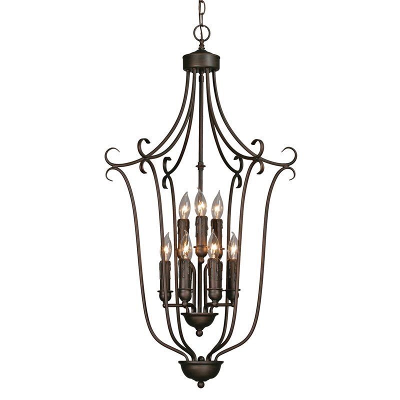 Beaumont Lane 9 Light Caged Foyer in Rubbed Bronze with Candlestick