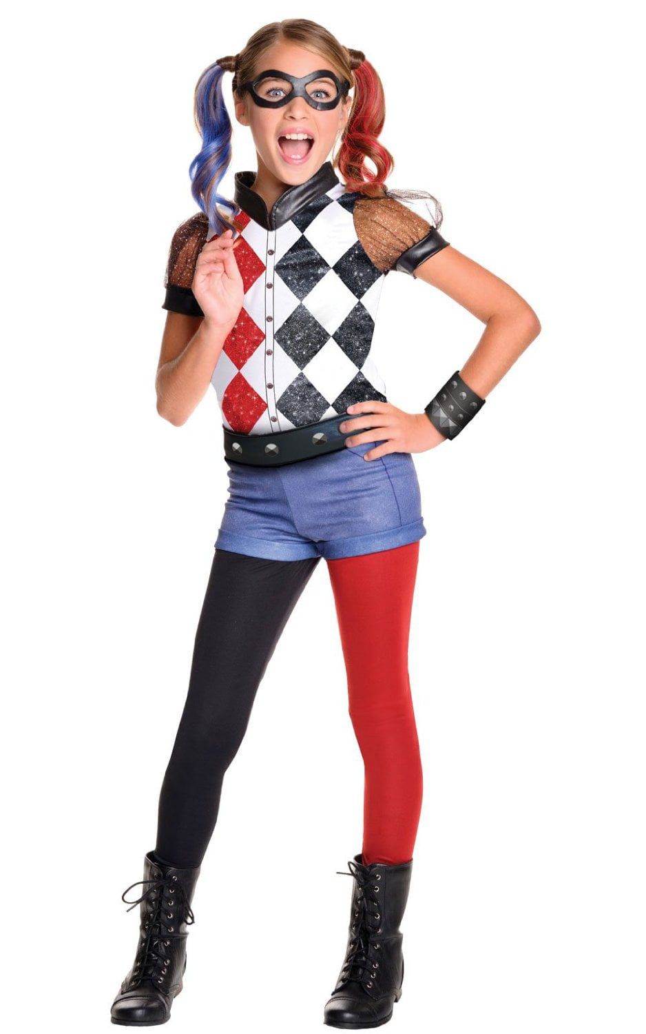 dc superhero girls harley quinn deluxe child costume walmartcom