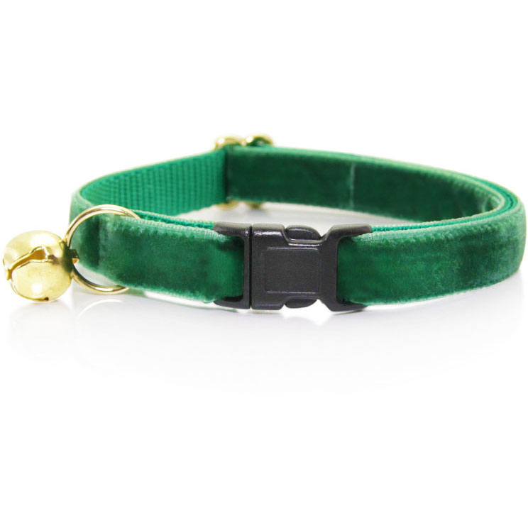 """Made By Cleo """"Emerald Green"""" Velvet Breakaway Cat Collar Adult Cat Size (Adjustable 8-13 Inches) by Made By Cleo"""