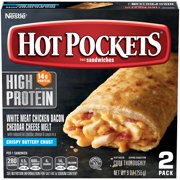 HOT POCKETS Chicken Bacon and Cheddar Cheese Melt Frozen Sandwiches 2 Ct. Box | Frozen Food with Reduced-Fat Cheddar Cheese