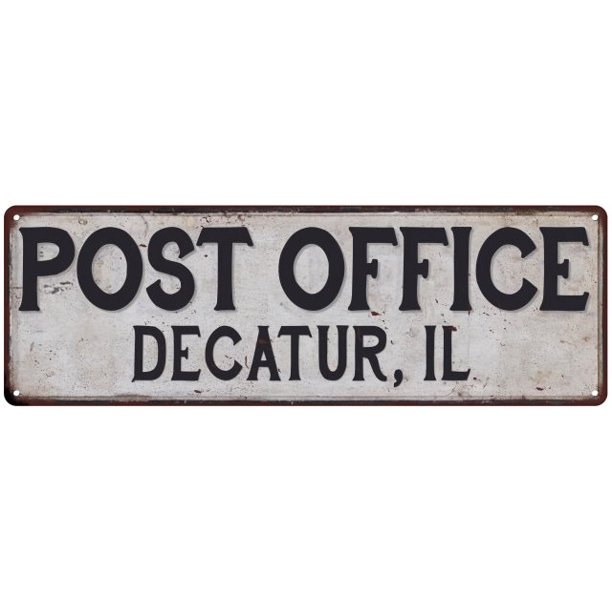 Decatur, Il Post Office Personalized Metal Sign Vintage