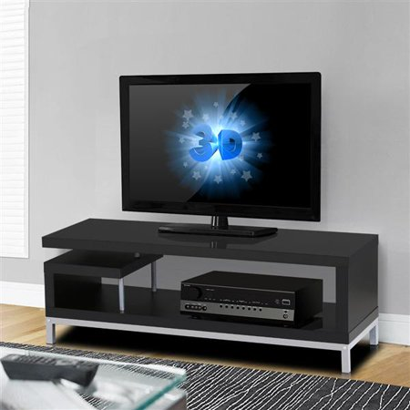 Yaheetech Black Wood TV Stand Console Table Home Entertainment Center Media Cabinets Steel Leg for Flat Screens