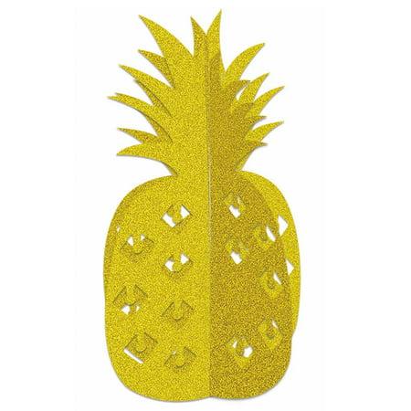 Gold Glitter 3D Pineapple Tropical Fruit Hawaiian Luau Center Piece Decoration - Center Piece Decorations