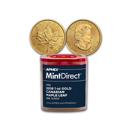 2018 Canada 1 oz Gold Maple Leaf (10-Coin MintDirect® (Germany Gold Leaf)