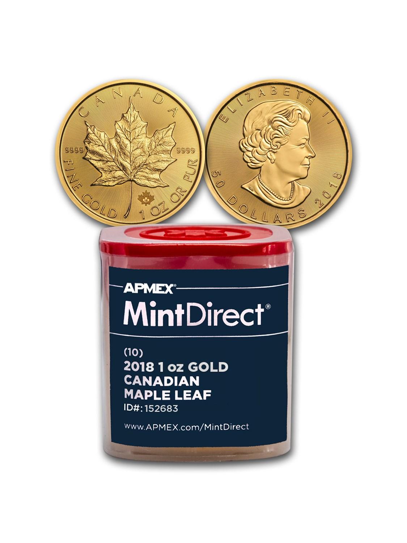 2018 Canada 1 oz Gold Maple Leaf (10-Coin MintDirect® Tube)