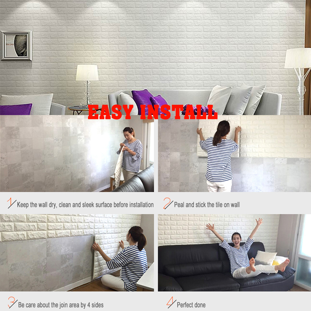 Art3d 6 Sq Ft Peel and Stick 3D Wall Panels White Brick Wallpaper