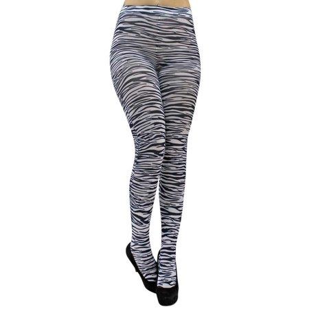 Striped Pantyhose (Zebra Black & White Print Striped Pantyhose)