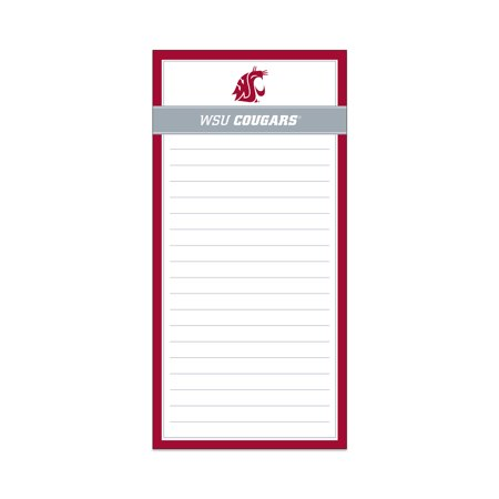 Washington State Magnetic List Pad Wsu Cougars This Washington State WSU Cougars Magnetic List Pad is a nice gift for fans of the Cougars. It features the authentic logo and colors for the Cougars and sticks right to your fridge or filing cabinet for easy access. This office list pad can help you remember important tasks. Use the pad to write down grocery items so you won't forget them during your next trip to the store.