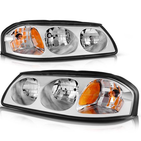 For 2000-2005 Chevy Impala Chrome Clear Amber Headlights Headlamps Assembly Pair Set 2001 2002 2003 2004 ()