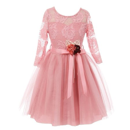 Girls Pink Rose Floral Lace Long Sleeve Mesh Flower Girl Dress (Pink Girls Dresses)