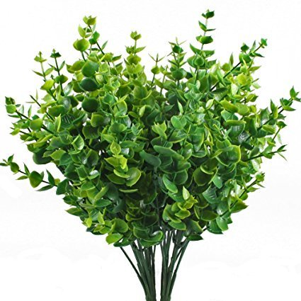 ShrubArts Artificial Greenery Plants Fake Plastic Eucalyptus Leaves Bushes for Wedding, Garden, Indoor Outdoor, Office Verandah Decor,(4 pieces) ()