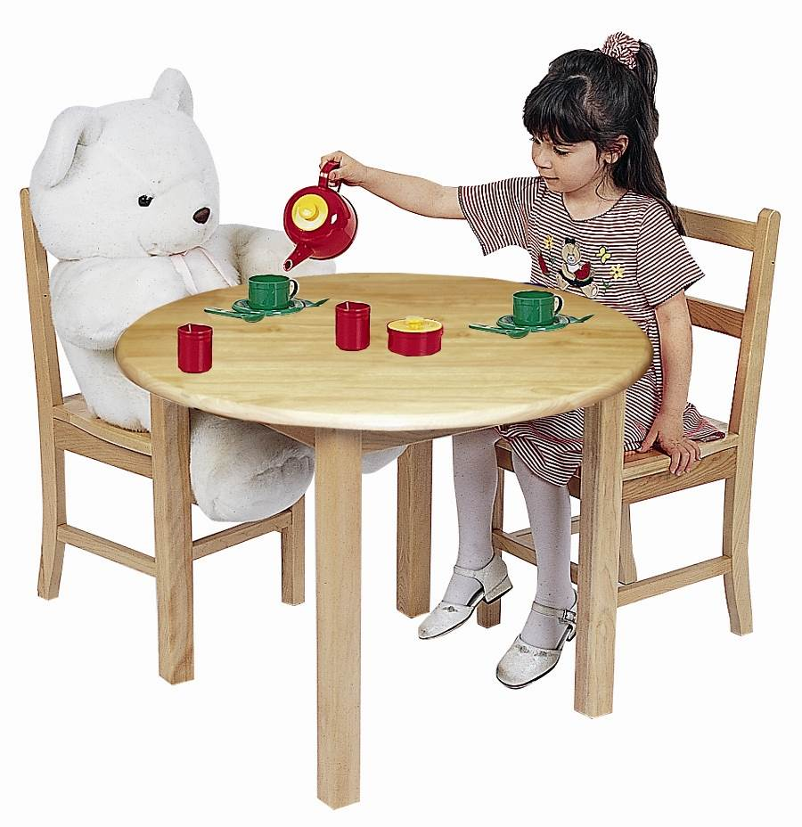 "ECR4Kids 30"" Round Hardwood Table and Chairs Set, Natural Oak"