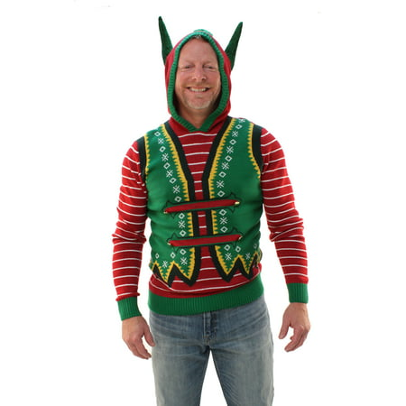 Ugly Christmas Sweater Men's Hooded Elf Ear Pullover - Ugly Christmas