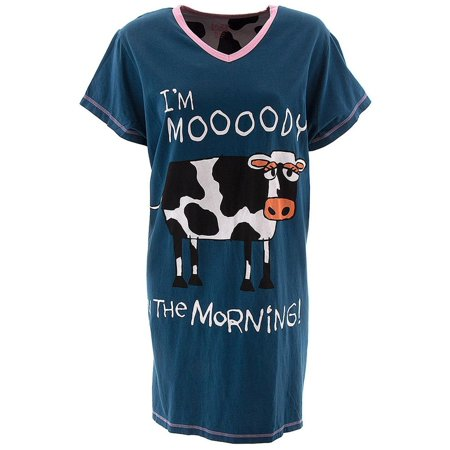 cb147e75 Animal World - Cow Moody in the Morning Women's V-Neck Nightshirt -  Walmart.com