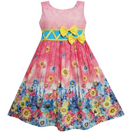 Sunny Fashion Girls Dress Sunflower Garden Flower Print Cotton Red Size 4 12
