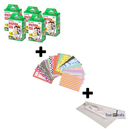 Fujifilm Instax Mini 9 FILM 5 Packs Bundle Set For Fuji Instant Camera + FREE 20 Border Stickers + Cleaning cloth (5 pack) (Filme Halloween 20)