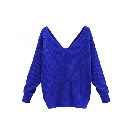 - Topumt Women Loose V-Neck Knitted Pullovers Twisted Back Jumpers