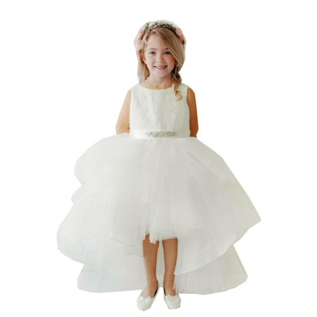 Little Girls Ivory Lace Bodice Beaded Sash Hi-Low Flower Girl Dress (Beaded Bodice)