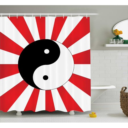 Ying Yang Decor Shower Curtain, Traditional Asian on Chinese Rising Sun Sunburst Pattern Art Print, Fabric Bathroom Set with Hooks, 69W X 84L Inches Extra Long, Black White Red, by Ambesonne