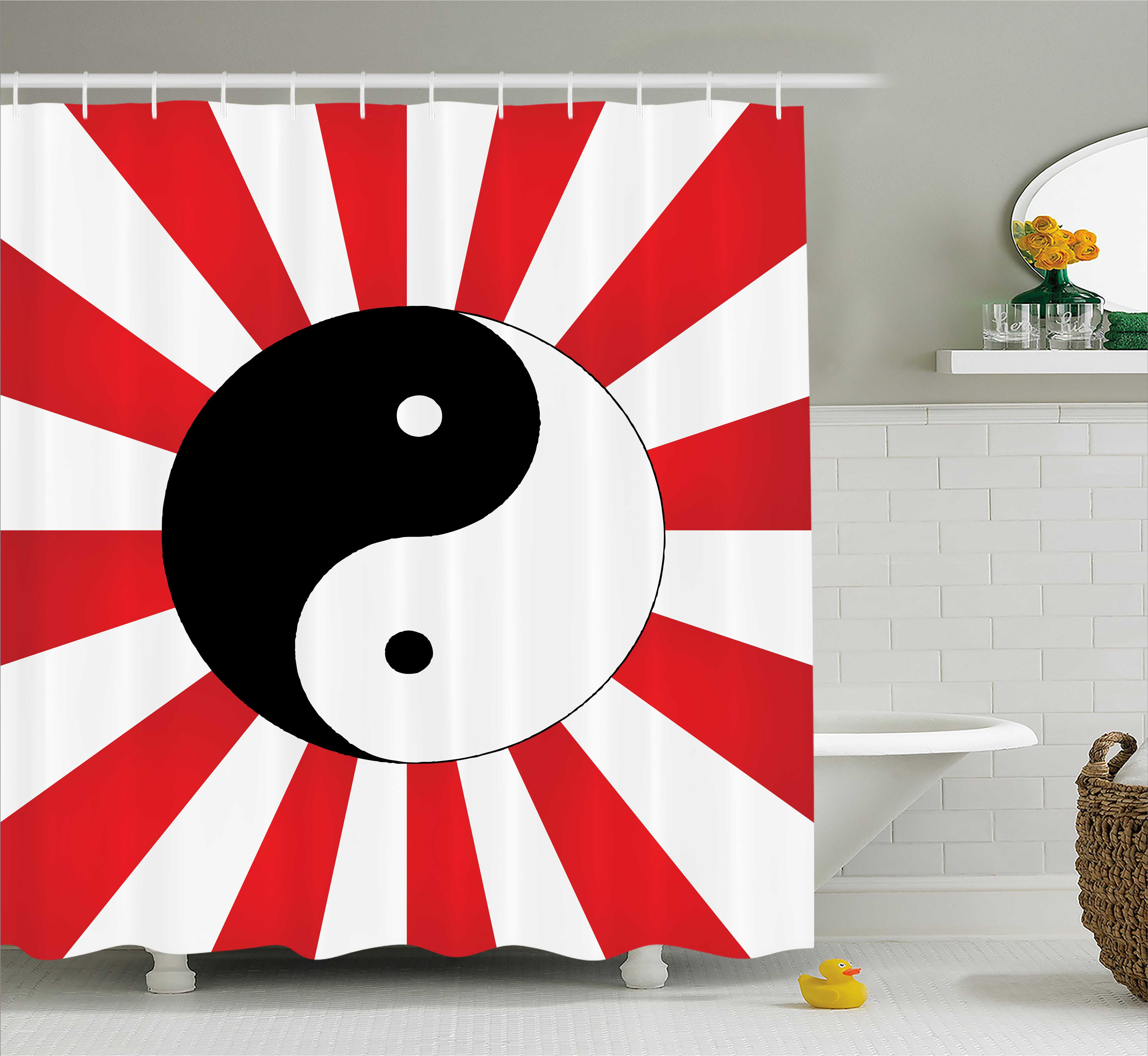 Ying Yang Decor Shower Curtain, Traditional Asian on Chinese Rising Sun Sunburst Pattern Art Print, Fabric Bathroom Set with Hooks, 69W X 70L Inches, Black White Red, by Ambesonne