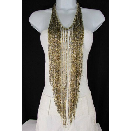 Women Long Trendy Fashion Statement Full Body Necklace Fringes Satrnds