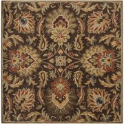 Hand-tufted Grand Chocolate Brown Floral Wool Rug (6' Square)