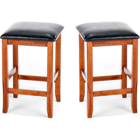 Imagio Home Perfect Fit Counter Stools 24    Set Of 2  Java Faux Leather