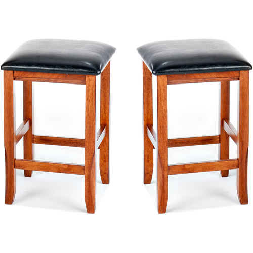 "Imagio Home Perfect Fit Counter Stools 24"", Set of 2, Java Faux Leather"