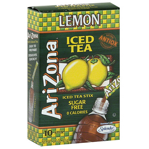 AriZona Sugar Free Lemon Iced Tea Stix, 10 count, (Pack of 12)