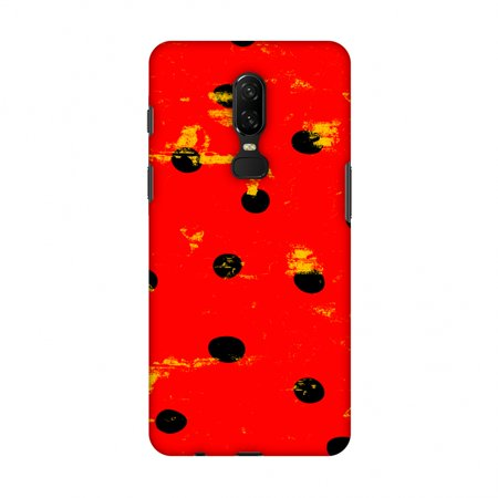 OnePlus 6 Case - Lady Bug - Yellow And Black Expunged Grunge Dots, Hard Plastic Back Cover, Slim Profile Cute Printed Designer Snap on Case with Screen Cleaning Kit