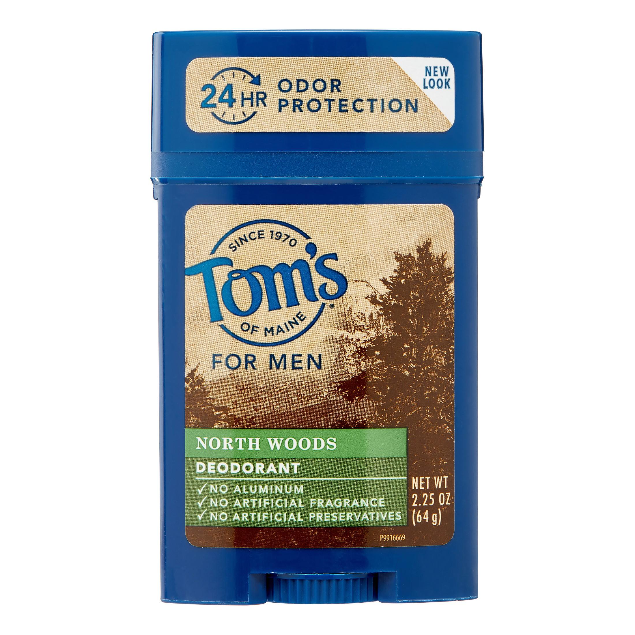 Tom's of Maine 24-Hour Long-Lasting Men's Deodorant Stick, Northwoods, 2.25 Oz