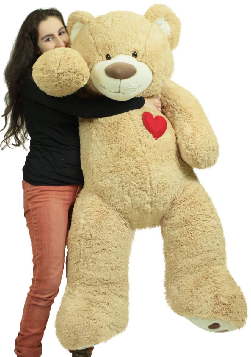 Giant 5 Foot Teddy Bear 60 Inch Soft Plush Animal, Heart on Chest to Express Love by BigPlush