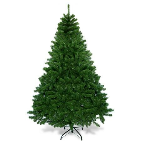 6Ft PVC Dense Christmas Tree Encryption Premium Hinged w/ Metal Stand Décor ()