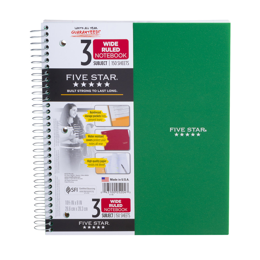 Mead Five Star 3 Subject Wide Ruled Notebook - 150 Sheets, 1.0 CT