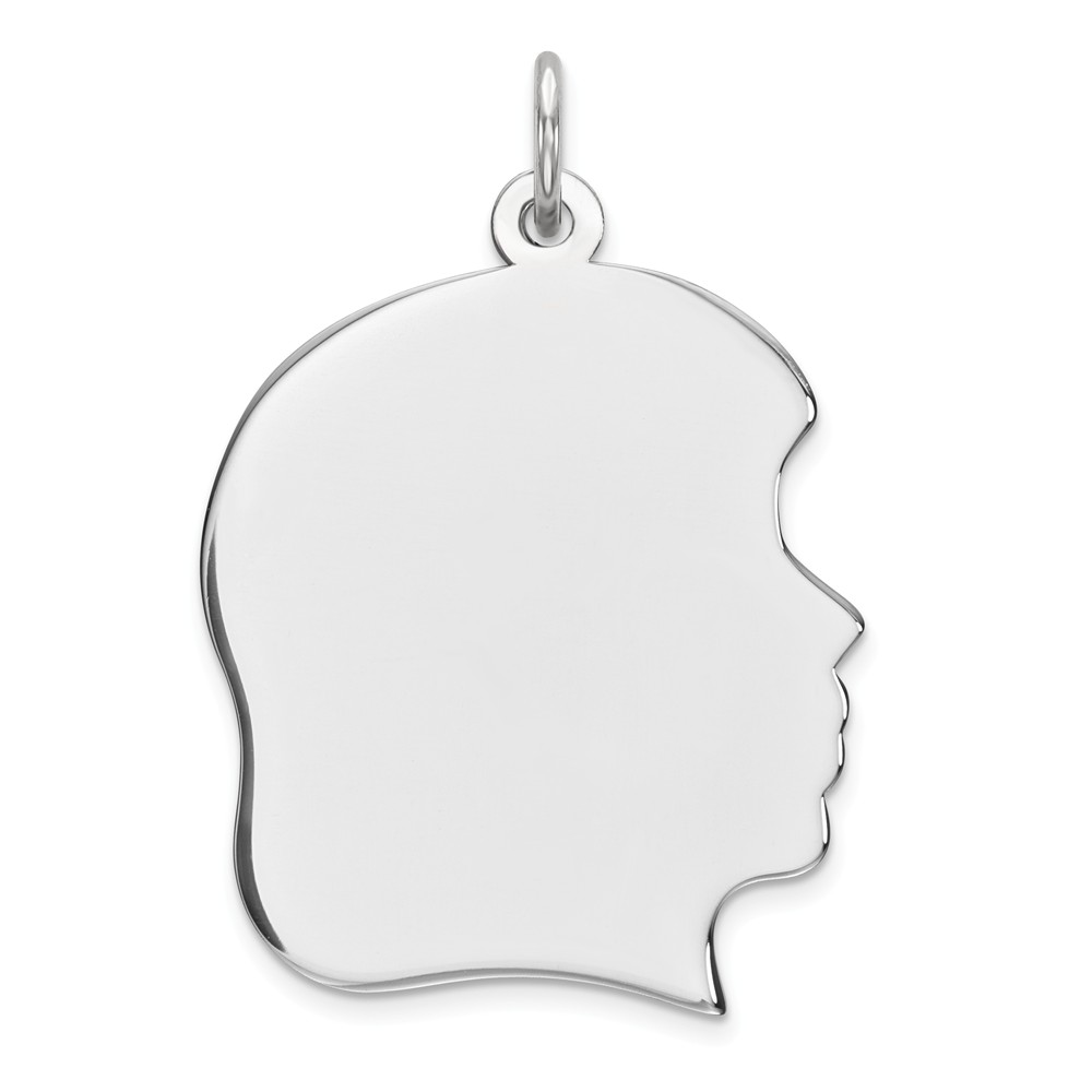 Sterling Silver Engravable Girl Disc Charm (1in long x 0.8in wide)