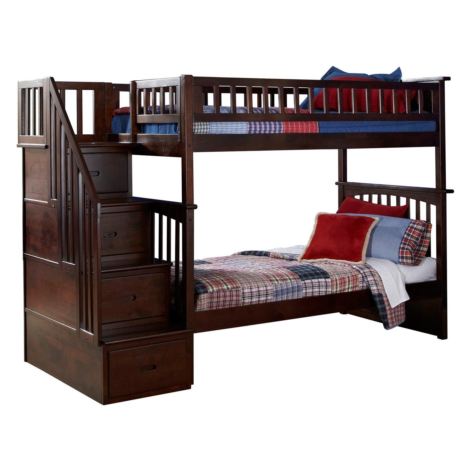 Atlantic Furniture Columbia Staircase Twin Over Twin Bunk Bed by Atlantic Furniture