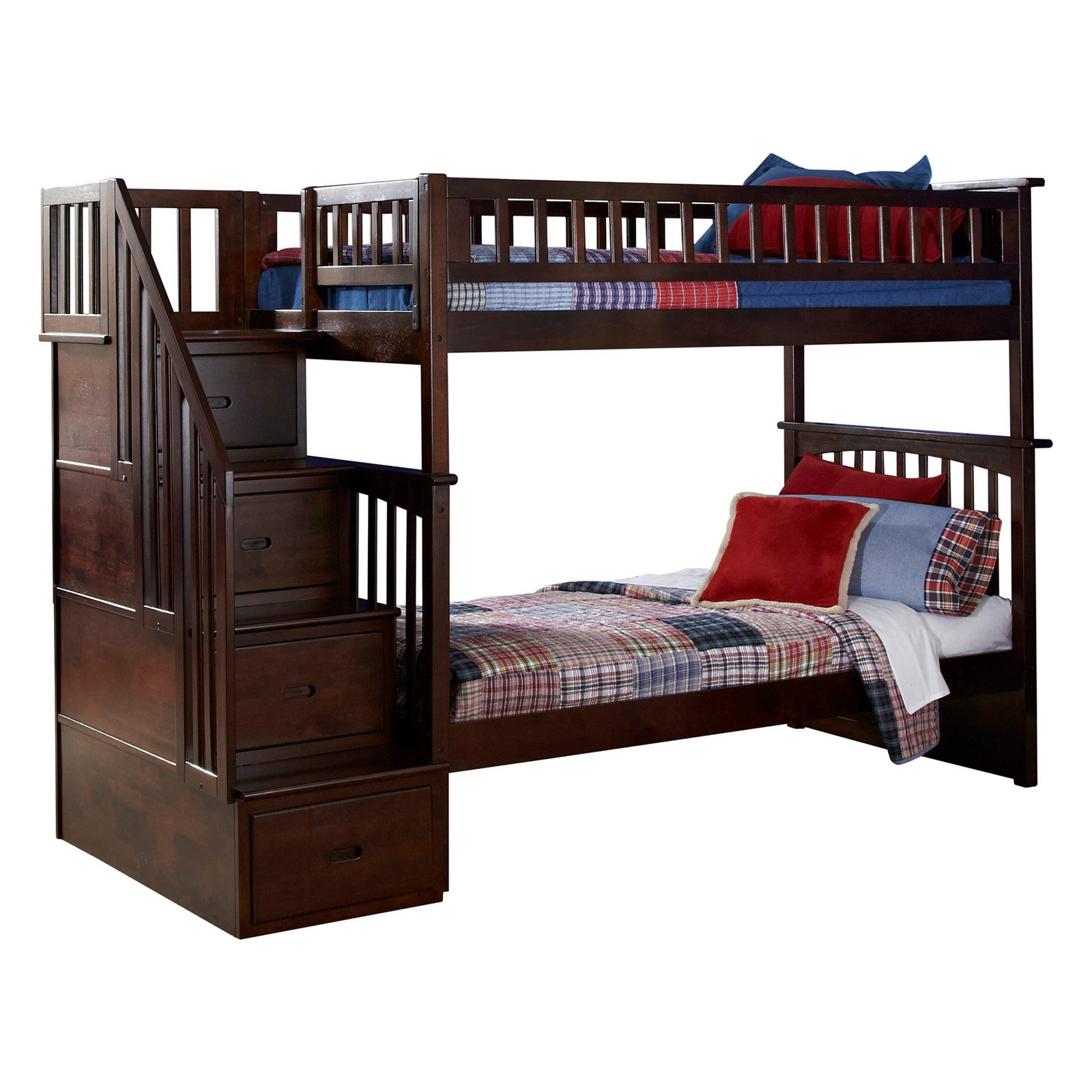 atlantic furniture columbia staircase twin over twin bunk bed