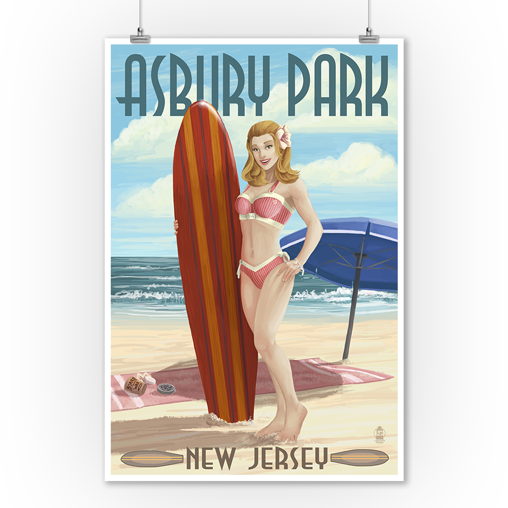Asbury Park, New Jersey - Surfer Pinup Girl - Lantern Press Poster (9x12 Art Print, Wall Decor Travel Poster)