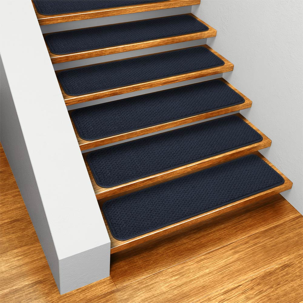 Set Of 15 Skid Resistant Carpet Stair Treads   Navy Blue   8 In.