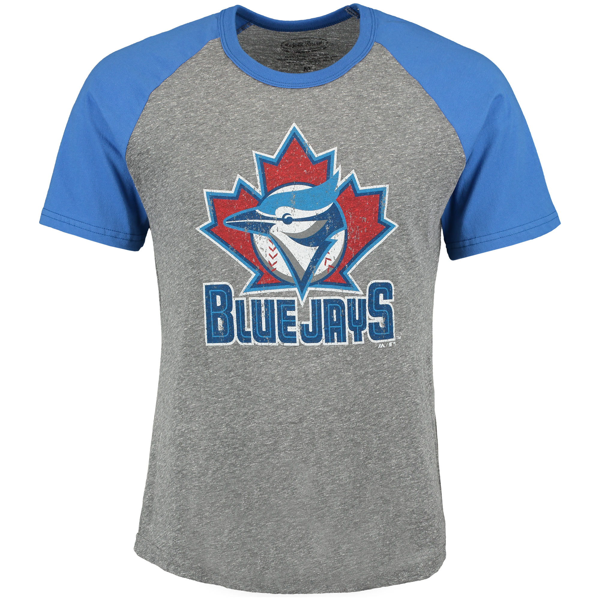 Toronto Blue Jays Majestic Threads Cooperstown Collection Raglan Tri-Blend T-Shirt - Heather Gray/Royal