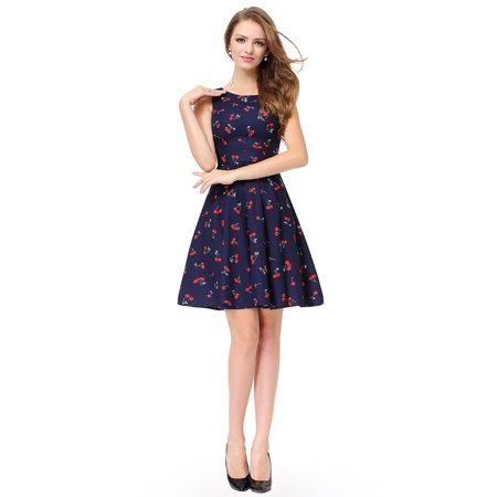 Ever-Pretty Womens Elegant Fit and Flare Floral Sleeveless Cocktail Party Wedding Guest Dresses for Women 05488 Navy Blue US