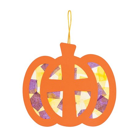 Fun Express - Tissue Acetate Christian Pumpkin Sign ck for Halloween - Craft Kits - Hanging Decor Craft Kits - Tissue Paper Crafts - Halloween - 12 Pieces - Easy Paper Crafts For Halloween