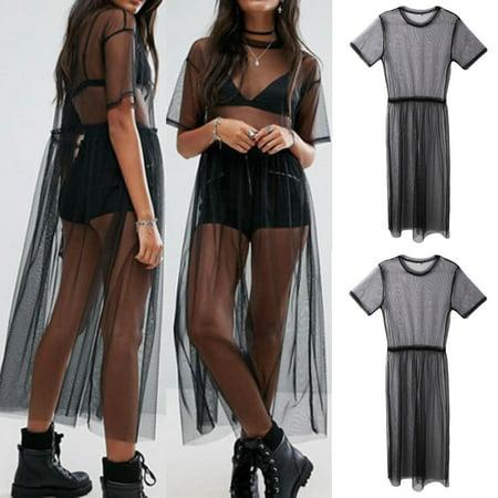 Mesh Spandex Suit - New Women Mesh Summer Beach Bikini Cover Up Long Swimwear Dress Bathing Suit Size M