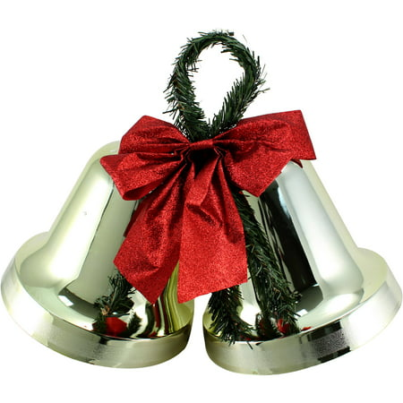 holiday time christmas decor 95 double bell gold indoor outdoor use - Walmart Christmas Decorations Indoor