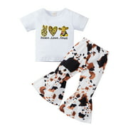 Emmababy Toddler Infant Baby Girl Outfits Short Sleeve Print Peace Love Cows T-Shirt + Flare Bell-Bottomed Pants Clothes Set