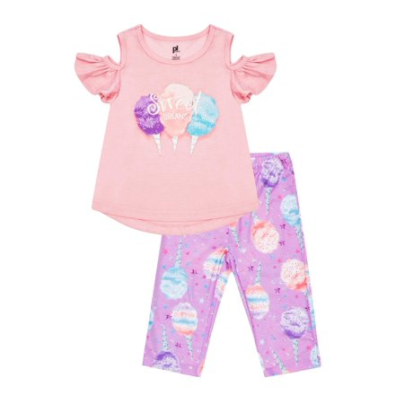 Girls' Cotton Candy Cold Shoulder 2 Piece Pajama Sleep Set (Little Girl & Big Girl)
